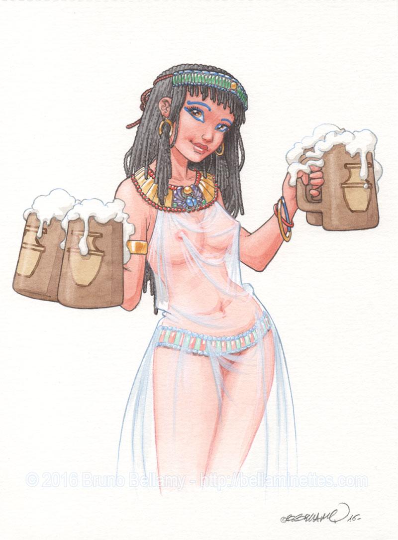 Bière égyptienne : aquarelle