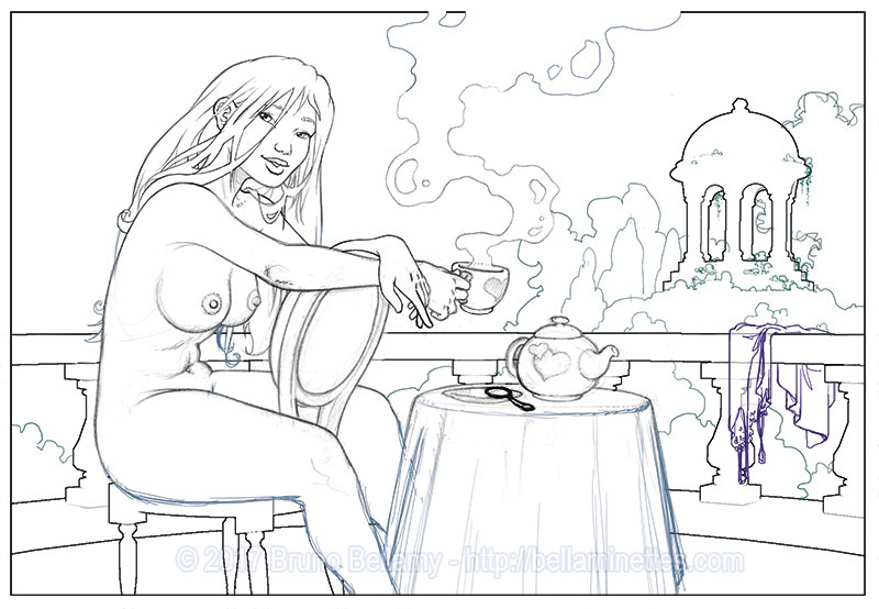 Cérémonie du téton (ex-libris de décembre) : crayonné
